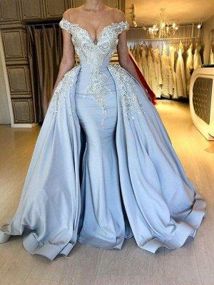 Blaue sexy Meerjungfrau mit kurzen Ärmeln Promkleider 2021 | Crystal Overskirt Abendkleider Online_3