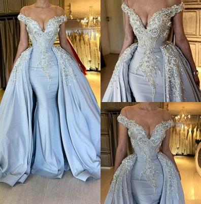 Blaue sexy Meerjungfrau mit kurzen Ärmeln Promkleider 2021 | Crystal Overskirt Abendkleider Online_6