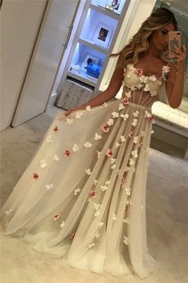 Spaghetti Straps Open Back Flowers Sexy Evening Gown Corset Illusion Tulle Prom Dress  FB0089_2