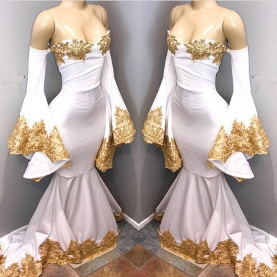 Long sleeve prom dress with gold appliques, mermaid evening dress BA8276_3