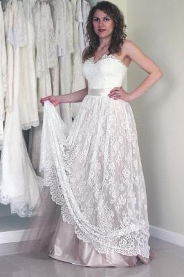 Simple Sweetheart Lace A-line Sash Sleeveless Long Wedding Dress_1