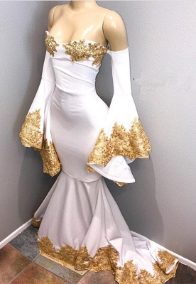 Long sleeve prom dress with gold appliques, mermaid evening dress BA8276_1