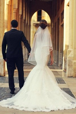 Sweetheart White Lace Sexy Mermaid Bridal Gown Latest Sweep Train Lace-Up Plus Size Wedding Dresses_3