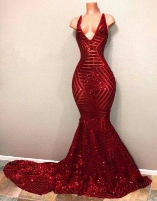Lentejuelas rojas sirena con cuello en V brillante vestidos de baile largos_2