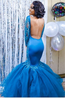 Elegant Blue Long Sleeves Lace Prom Dresses | Affordable Wholesale Fit and Flare Open Back Evening Dresses_3