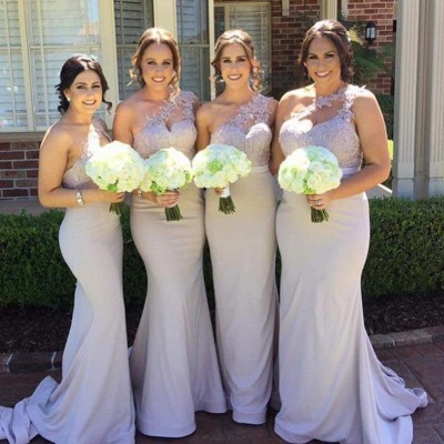 Elegant Mermaid Bridesmaid Dresses | One-Shoulder Lace Long Wedding Party Dresses_4