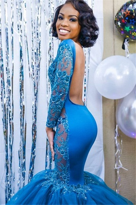 Elegant Blue Long Sleeves Lace Prom Dresses | Affordable Wholesale Fit and Flare Open Back Evening Dresses_4