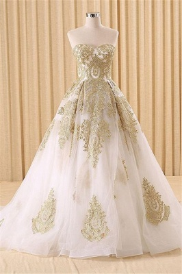 Elegant Sweetheart Sleeveless Tulle Wedding Dress Ball Gown With Appliques_1