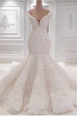 New Arrival Mermaid Vintage Wedding Dresses Online | Elegant V-Neck Lace Wedding Gowns Cheap Online