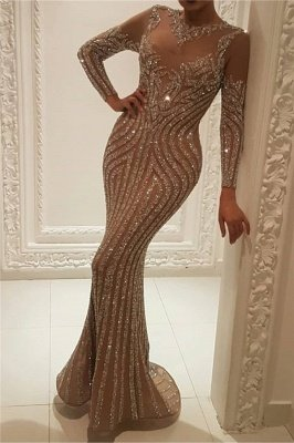 Elegant Long Sleeve Nude Inner Lining Sparkly Prom Dresses | Beads Sequins Fit and Flare Wholesale Evening Gowns