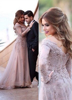 Elegant Off The Shoulder Lace Appliques Long Sleeve A-line Zipper Sweep Train Sexy Evening Gown_1