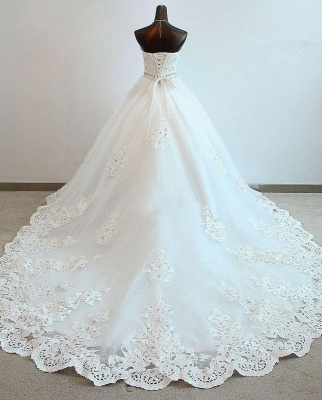 Sequined Lace-Up Sweetheart Wedding Dresses Charming Sleeveless Ball Gown Bridal Dresses_2