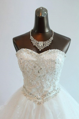 Sequined Lace-Up Sweetheart Wedding Dresses Charming Sleeveless Ball Gown Bridal Dresses_3