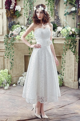 Elegant Sweetheart Lace Wedding Dress Ankle Length Empire Bridal Gown_1