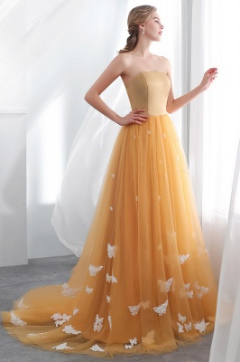 NELL | Aline Floor Length Strapless Appliques Tulle Evening Dresses with Robbion_5