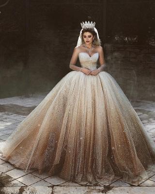 Sparkly Tüll bodenlangen Brautkleider | Scoop Long Sleeves Brautkleider mit Pailletten_3