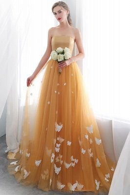 NELL | Aline Floor Length Strapless Appliques Tulle Evening Dresses with Robbion_4