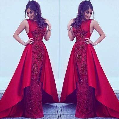 Cuentas Lentejuelas Vestidos de noche sexy populares Overskirt Vestidos de noche formales sin mangas rojos BA7428_3