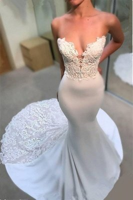 Sexy Strapless Lace Wedding Dresses Cheap Online | Elegant Mermaid Open Back Bridal Gowns