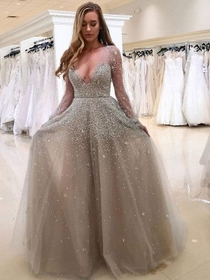 Popular Long Sleeve V-neck Beading A-line Prom Dress | Plus Size Prom Dress_3