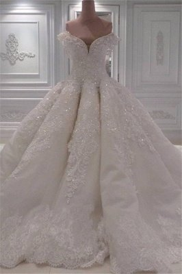 Off The Shoulder Lace Wedding Dresses Cheap Online   Elegant Ball Gown Luxury Wedding Gowns