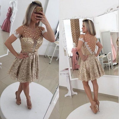 Glamorous Pearls Lace Cocktail Dress Illusion Short Sleeve BT0_2