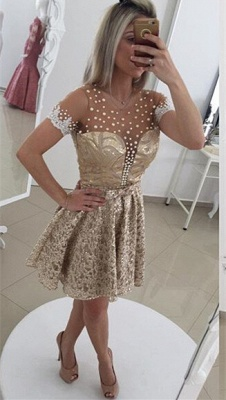 Glamorous Pearls Lace Cocktail Dress Illusion Short Sleeve BT0_1