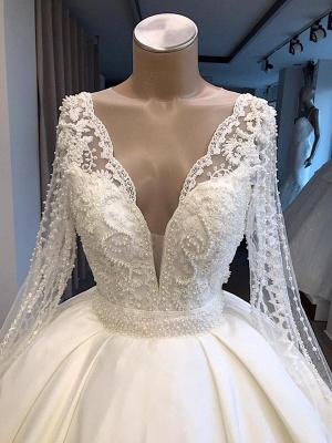 Graceful V-Ausschnitt mit langen Ärmeln Spitze Applizierte Perlen Brautkleider | Günstige Hochzeit Party Kleider mit Reißverschluss und Knöpfen_2