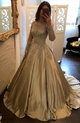 Una línea de vestidos de noche Bateau cuello mangas largas apliques de encaje Vestidos de baile_1
