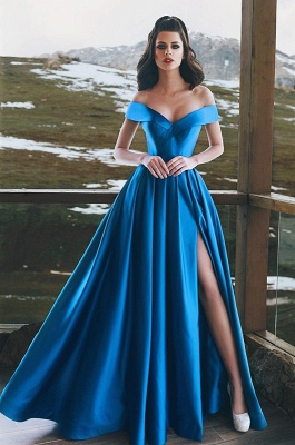 Blue Off-the-Shoulder Prom Dress | Long Evening Gowns With Slit BA8863_1
