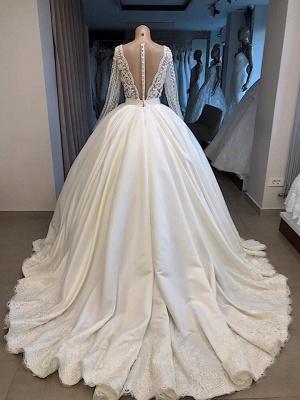 Graceful V-Ausschnitt mit langen Ärmeln Spitze Applizierte Perlen Brautkleider | Günstige Hochzeit Party Kleider mit Reißverschluss und Knöpfen_3
