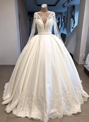 Graceful V Neck Long Sleeves Lace Appliqued Beading Bride Dresses | Cheap Wedding Party gowns With Zipper And Buttons