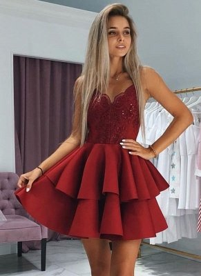 Fashion Layers Homecoming Dresses  Spaghetti Straps Lace Hoco Dresses with Appliques_1