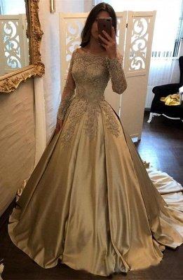 A linha de vestidos de noite Bateau pescoço mangas compridas Lace apliques vestidos de baile_1