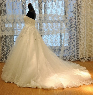 Crystal Lace Sweetheart Bridal Dresses Chapel Train Elegant Lace-Up Wedding Dresses_2