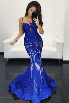 Spaghetti Straps Royal Blue Lace Evening Gown | Sexy Mermaid Sleeveless Prom Dress BA7905_1
