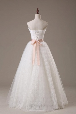 Sweetheart Lace Sash Wedding Dresses Lace-Up Bowknot Sleeveless Bridal Gowns_2