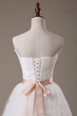 Sweetheart Lace Sash Wedding Dresses Lace-Up Bowknot Sleeveless Bridal Gowns_4
