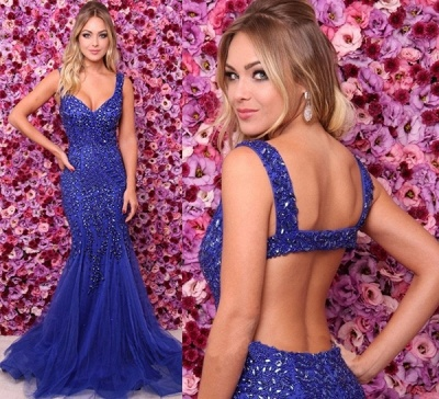 Pretty Royal Blue Straps Evening Dresses |Crystals Open Back Sleeveless Prom Dress Online_3