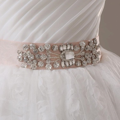 Sweetheart Lace Sash Wedding Dresses Lace-Up Bowknot Sleeveless Bridal Gowns_3