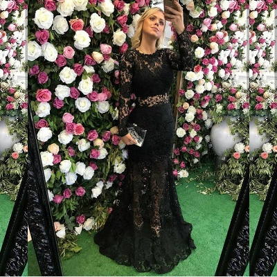 Sexy Black Long Sleeve Lace Prom Dress Sheer Party Gowns On Sale_3