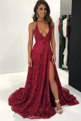 f0581013b935 Sexy Backless Burgundy Lace Formal Evening Dress | Side Slit Halter  Sleeveless Cheap Prom Dress