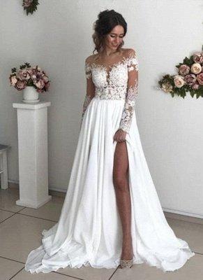 Robes de mariée glamour à manches longues en dentelle | 2021 robes de mariée en mousseline de soie avec fente