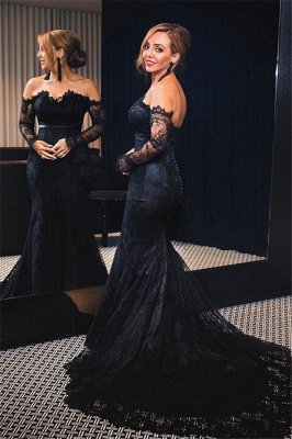 Black Lace Off The Shoulder Prom Dress  Mermaid Long Sleeve Sexy Evening Gowns with Buttons_1