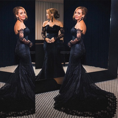 Black Lace Off The Shoulder Prom Dress  Mermaid Long Sleeve Sexy Evening Gowns with Buttons_3