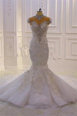 Délicate sans manches perles pure Tulle Appliques sirène robes de mariée scintillantes_5
