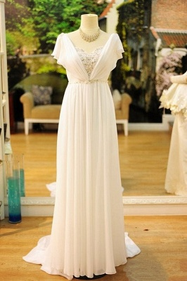 Cheap Popular Vintage Wedding Dresses Bohemia Short Sleeves Beads Peals Chiffon 1950s Bridal Dress