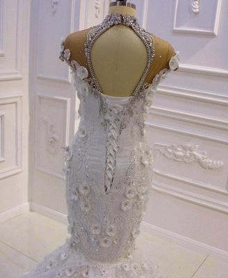 Délicate sans manches perles pure Tulle Appliques sirène robes de mariée scintillantes_3