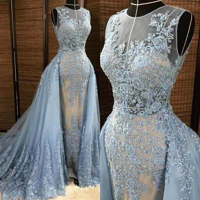Gorgeous Column Sleleveless Long Evening Dresses | Lace Appliques Beading Sexy Prom Dress with Overskirt_3