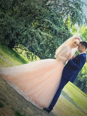 Romantic Long Sleeve Tulle Lace Arabian Wedding Dress Sweep Train